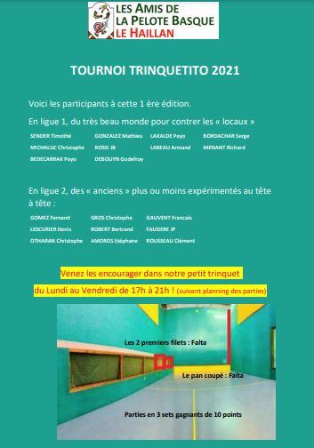Tournoi TRINQUETITO : C'est parti …